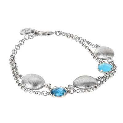 Double strand bracelet with sky and sky blue milk crystals and scratched elements