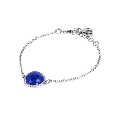 Bracelet with blue rutilated cabochon and zircons