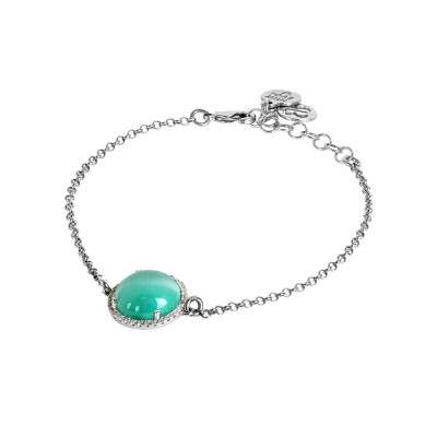 Bracelet with water green cabochon, flecked with cubic zirconia
