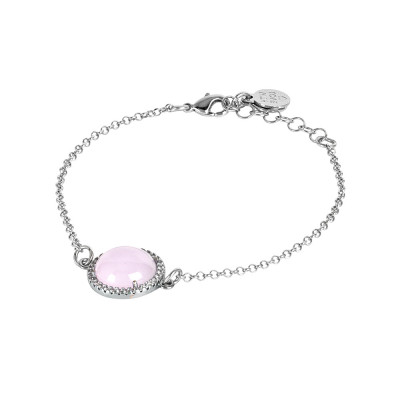 Bracelet with light pink cabochon and zircons
