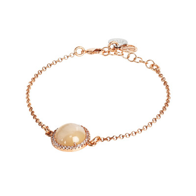 Bracelet with flecked beige cabochon and zircons