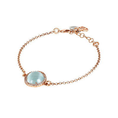 Bracelet with flecked sky blue cabochons and zircons