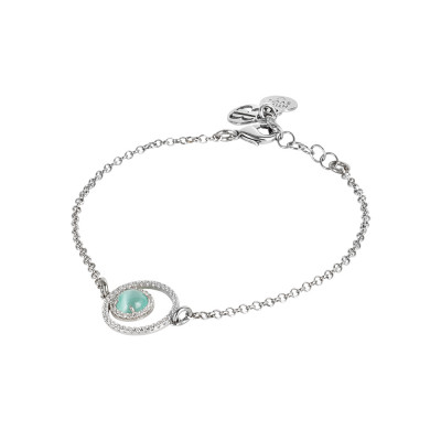 Bracelet with double cubic zirconia base and aqua green cabochon