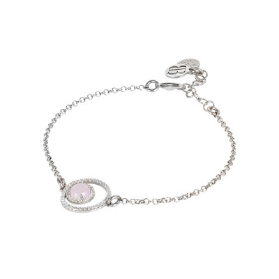 Bracelet with double zircon base and light pink flecked cabochon