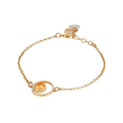 Bracelet with double zircon base and flecked orange cabochon