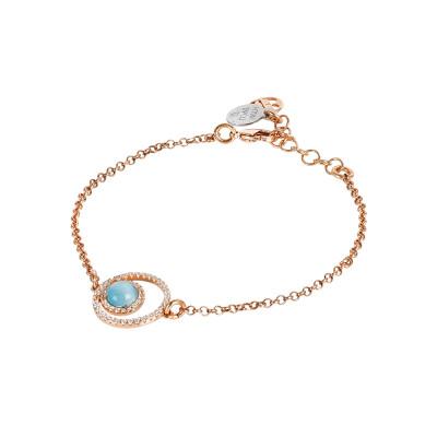 Bracelet with double zirconia base and flecked celestial cabochon