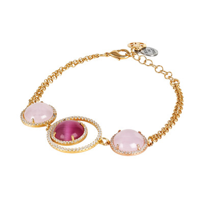 Bracelet with cubic zirconia decoration and fuchsia and pink cabochon