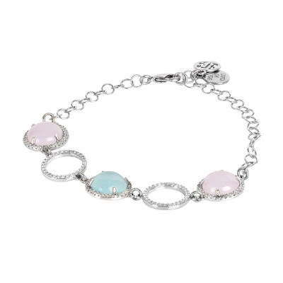 Bracelet with cubic zirconia elements and pink and light blue cabochons