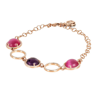 Bracelet with cubic zirconia elements and fuchsia and amethyst cabochons
