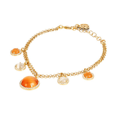 Double strand bracelet with orange and beige pendant cabochons with zircons
