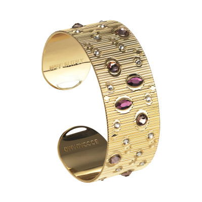 Rigid band bracelet with pink Swarovski