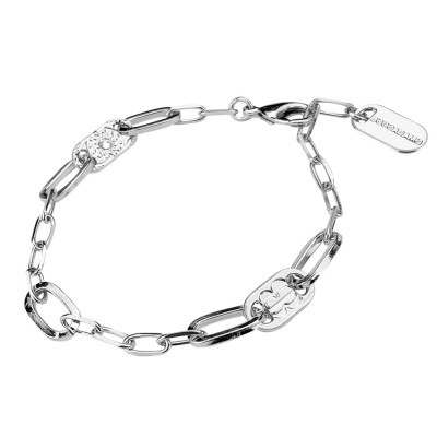 Rhodium-plated bracelet with large and small rectangular links
