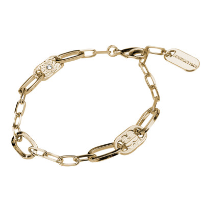 Yellow gold plated bracelet with large and small rectangular links