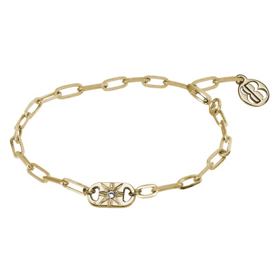 Yellow gold plated bracelet with small rectangular links with Swarovski