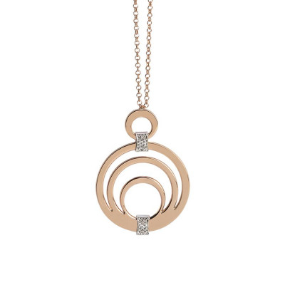 Pink Necklace Pendant with circular and zircons