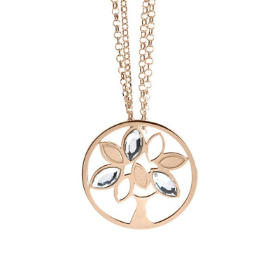 Pink Necklace Pendant with tree of life and Swarovski
