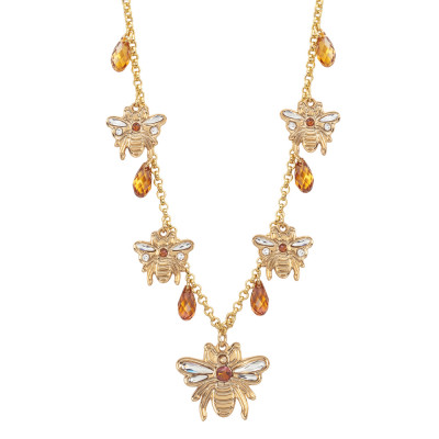 Necklace with bees and Swarovski crystals