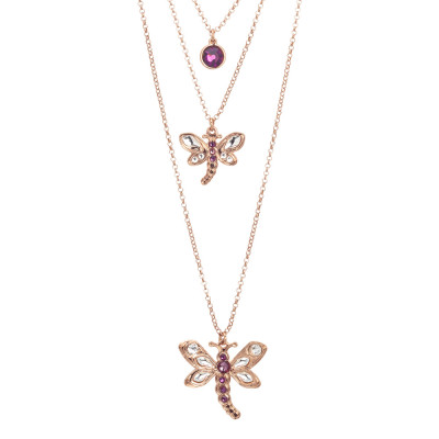 Multi-strand necklace with dragonflies and Swarovski