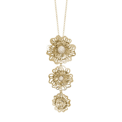 Golden necklace with a tie-tie composed of three-dimensional wild roses