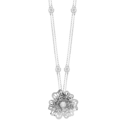 Double strand necklace with three-dimensional wild rose pendant and cubic zirconia