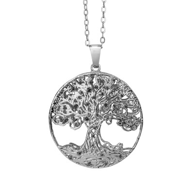 Rhodium-plated necklace with circular pendant and tree of life in black glitter