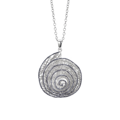 Rhodium-plated necklace with spiral pendant in black glitter