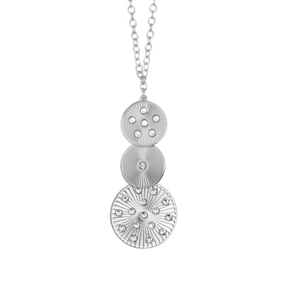 Rhodium-plated necklace with modular pendant and Swarovski
