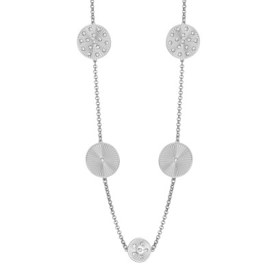 Long rhodium necklace with decorative ray and Swarovski elements