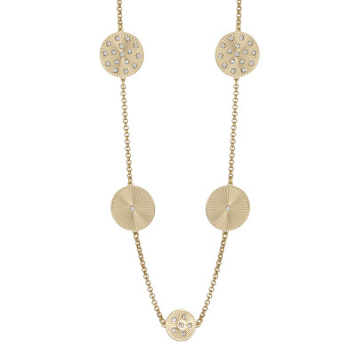 Long golden necklace with decorative ray and Swarovski elements