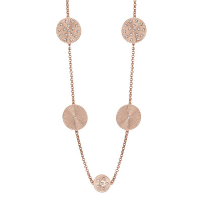 Rosy long necklace with decorative ray and Swarovski elements