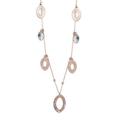 Long rosé necklace with smooth navette and Swarovski
