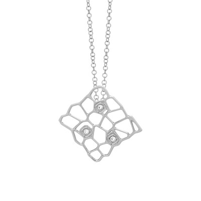 Rhodium-plated necklace with a network and Swarovski texture pendant