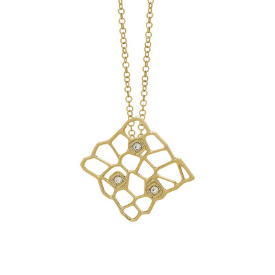 Golden necklace with a network and Swarovski texture pendant