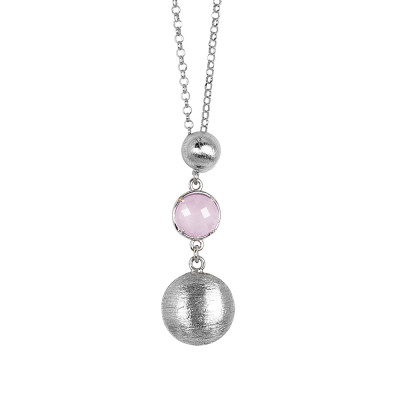 Necklace with hanging scratched elements and quartz rose milk color crystal