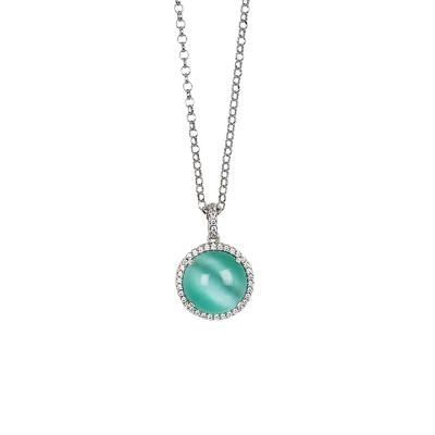 Long necklace with water green cabochon, flecked with zircons