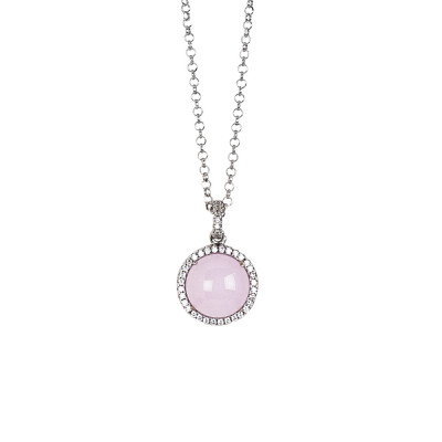 Long necklace with light pink cabochon and zircons