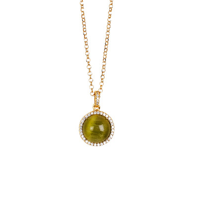Long necklace with green olivine cabochon, flecked and cubic zirconia