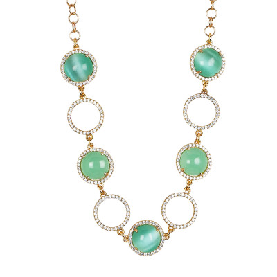 Necklace with cubic zirconia, flecked light green cabochon and flecked opaque green
