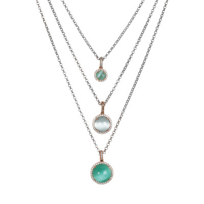 Multi-strand necklace with cubic zirconia and aqua green cabochon and sky blue
