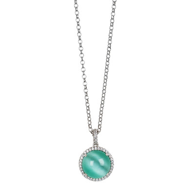Long necklace with water green cabochon pendant, flecked with zircons