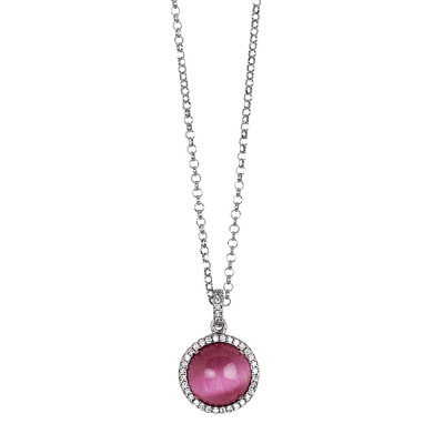 Long necklace with fuchsia cabochon pendant on a cubic zirconia base