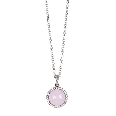 Long necklace with light pink cabochon pendant on a zircon base