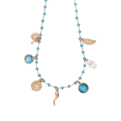 Rosary necklace with Sky crystals and charms good luck theme
