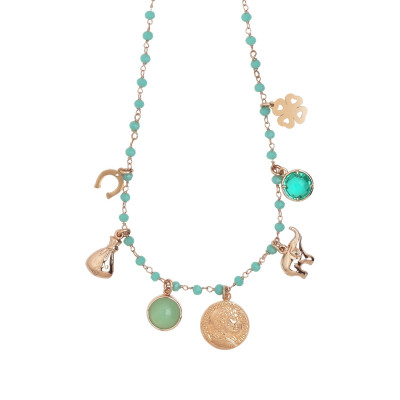 Rosary necklace with green water crystals and prosperity theme charms