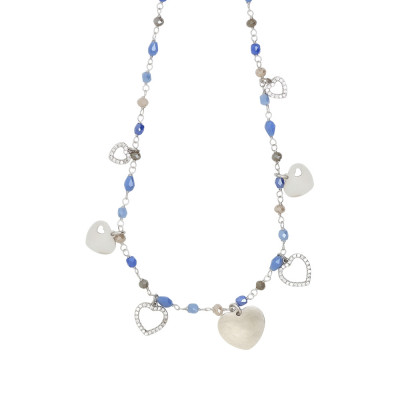 Rosary necklace with multicolor crystals shades of blue and love theme charms