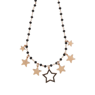 Rosary necklace with black crystals and star theme charms