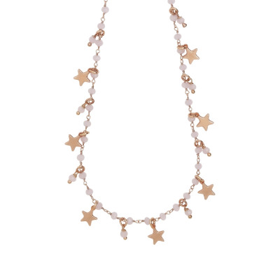 Rosary necklace with milk pink crystals and star theme charms
