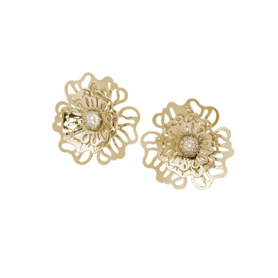 Golden lobe earrings with three-dimensional wild rose and zircons