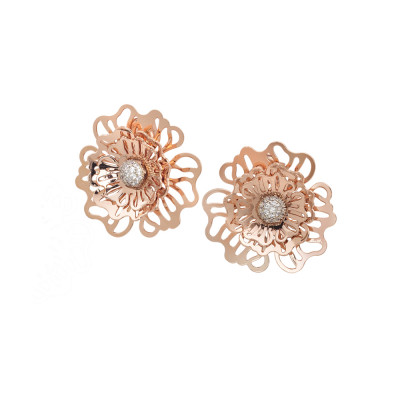 Pink lobe earrings with three-dimensional wild rose and zircons