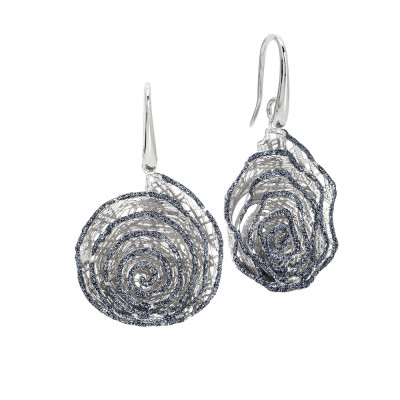 Earrings with spiral pendant in black glitter